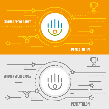 pentathlon: Horizontal banner of summer sport games. Icons for advertising branding, mobile website and apps with simple stroke. Simple linear pictogram in thin line style. Illustration