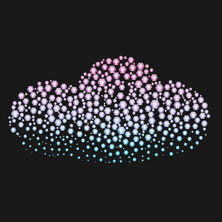 Cloud silhouette made with diamonds or rhinestones. Abstract creative symbol on black background for design elements. Illustration made in the art of small gems with spray.