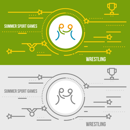 contention: Horizontal banner of summer sport games. Icons for advertising branding, mobile website and apps with simple stroke. Simple linear pictogram in thin line style. Illustration
