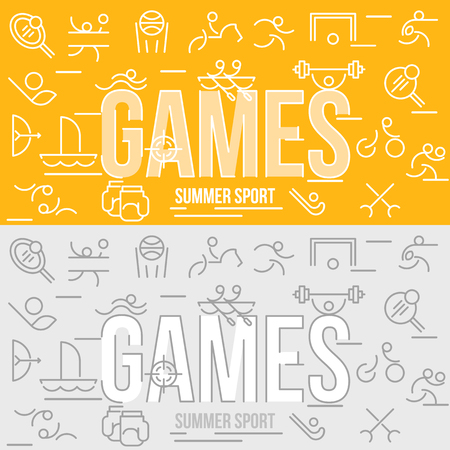 pentathlon: Horizontal banner of summer sport games. Icons for branding website and mobile website and apps with simple stroke. Simple linear pictogram in thin line style.