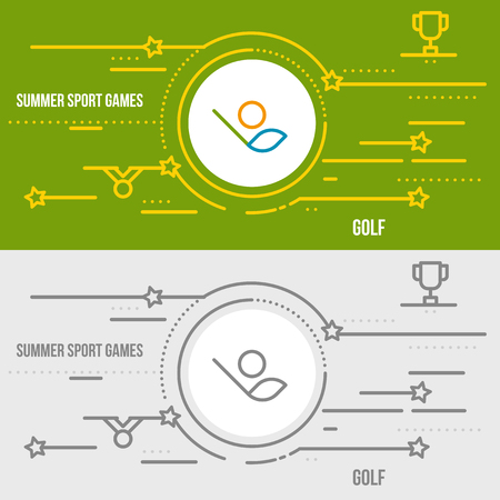 slashing: Horizontal banner of summer sport games. Icons for advertising branding, mobile website and apps with simple stroke. Simple linear pictogram in thin line style. Illustration