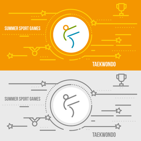 jujitsu: Horizontal banner of summer sport games. Icons for advertising branding, mobile website and apps with simple stroke. Simple linear pictogram in thin line style. Illustration