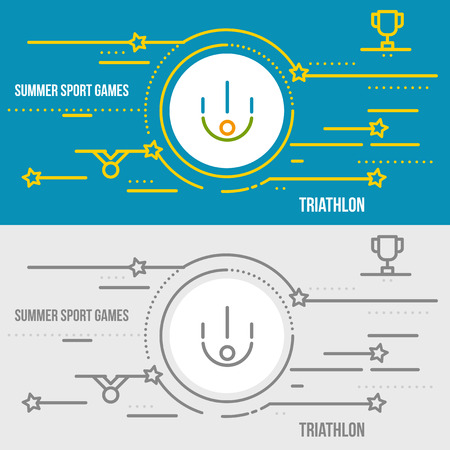 endurance: Horizontal banner of summer sport games. Icons for advertising branding, mobile website and apps with simple stroke. Simple linear pictogram in thin line style. Illustration