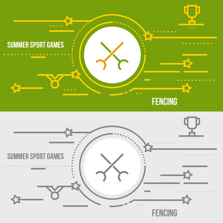 swordsmanship: Horizontal banner of summer sport games. Icons for advertising branding, mobile website and apps with simple stroke. Simple linear pictogram in thin line style. Illustration