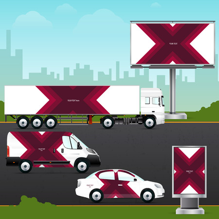 advertising material: Design template vehicle, outdoor advertising or corporate identity. Mock up passenger car, truck, bus, billboard and citylight. Elements for branding in material design style.