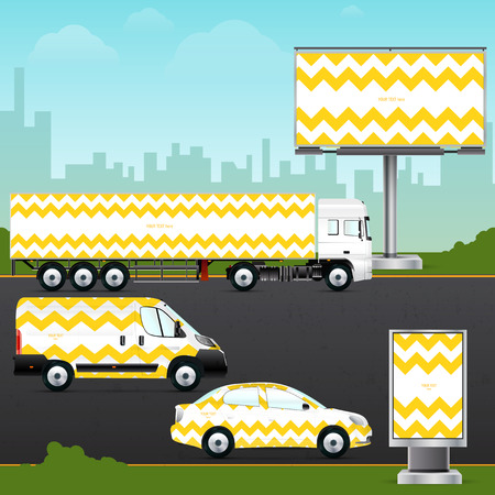 Design template vehicle, outdoor advertising or corporate identity. Mock up passenger car, truck, bus, billboard and citylight. Elements for branding in material design style.