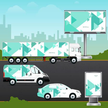 outdoor advertising: Design template vehicle, outdoor advertising or corporate identity. Mock up passenger car, truck, bus, billboard and citylight. Elements for branding in material design style.