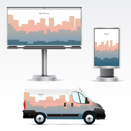 citylight: Template of outdoor advertising or corporate identity on the car, billboard and citylight. Mockup for business, branding and advertising companies.