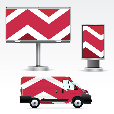 Template of outdoor advertising or corporate identity on the car, billboard and citylight. Mockup for business, branding and advertising companies.