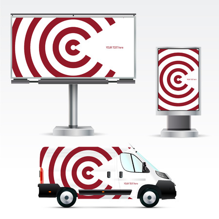 company board: Template of outdoor advertising or corporate identity on the car, billboard and citylight. Mockup for business, branding and advertising companies.