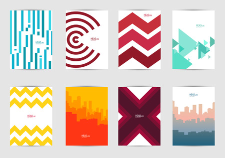 Set of templates covers for flyer, brochure, banner, leaflet, book , A4 size. Cover layout design. Abstract presentation templates, artistic creative mockup for design projects. Modern backgrounds. Çizim