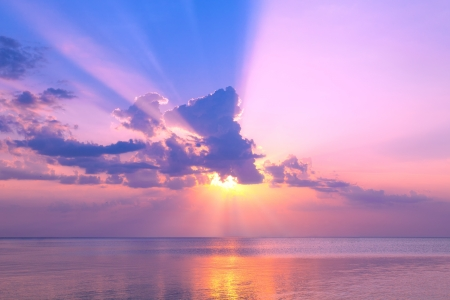 Beautiful rose sunset over sea Stock Photo