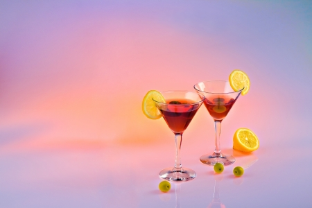 Cocktails with lemon and olives for background Stock Photo - 17332729