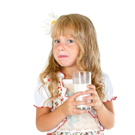 Little girl licked after drinking milk isolated on white background Stock Photo - 17566279