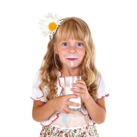 milk mustache: Little girl with milk mustache after drinking milk isolated on white background