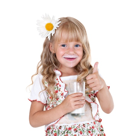 milk mustache: Little girl with milk mustache after drinking milk showing thumb up isolated on white background