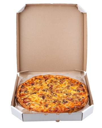 Pizza in a box isolated on white background photo