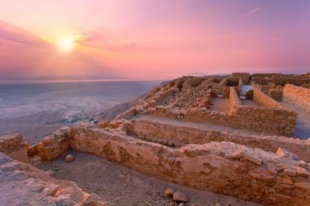 masada: Beautiful sunrise over Masada fortress in Judaean Desert