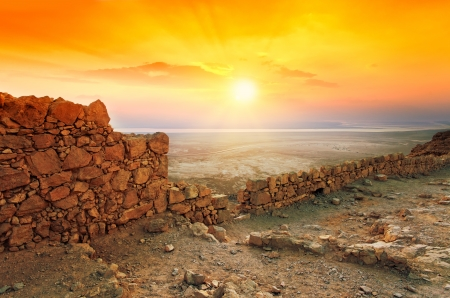 judaean desert: Beautiful sunrise over Masada fortress in Judaean Desert