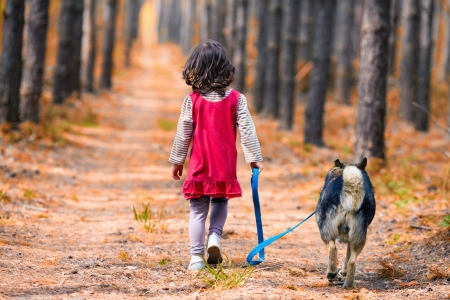 Little girl with dog walking on the road  Back to camera  photo