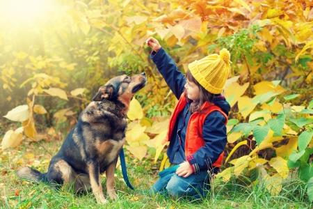 niños platicando: Niña feliz que juega con el perro grande en el bosque en otoño