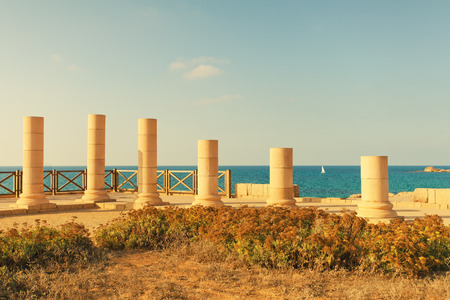 Ruins of ancient city Caesarea in Israel photo
