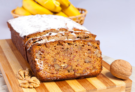 Banana bread with honey and walnuts photo