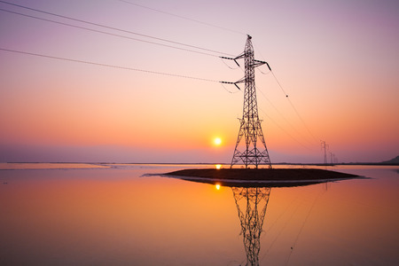 Transmission facilities in Dead Sea in Israel at sunset photo