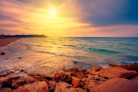 Beautiful sunset over sea in Tel Aviv-Jaffa, Israel photo