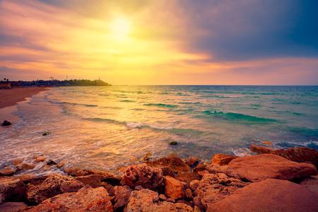 Beautiful sunset over sea in Tel Aviv-Jaffa, Israel photo