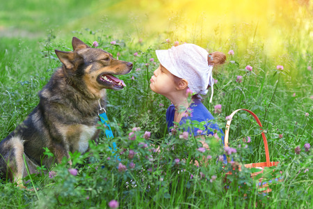 Little girl and dog sitting in the clover lawn and looking at each other photo