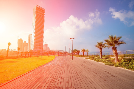 Netanya sity at sunrise, wooden embankment  Israel