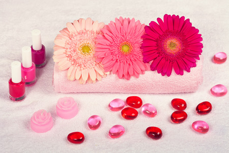 Manicure salon, place for manicure decorated with flowers photo