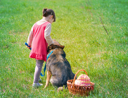 Little girl with dog on picnic back to camera photo
