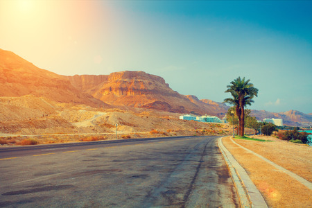 ein: The road at sunrise in Ein Bokek city, Israel