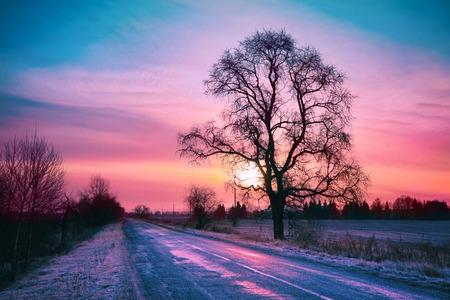 winter sunrise: Beautiful winter sunrise over road
