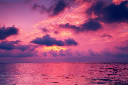 Beautiful magic sunset over the sea photo