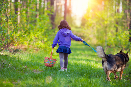 snag: Little girl with dog walking in the forest