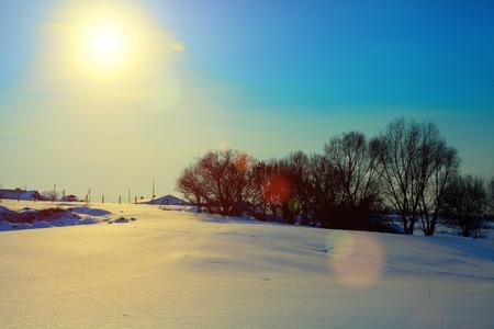 farmstead: farmstead in winter at evening light