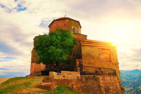 Jvari Monastery near Mtskheta city in Georgia country photo
