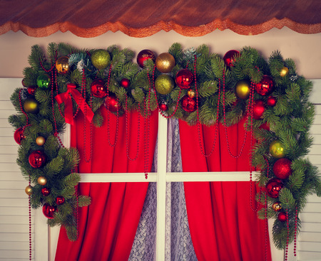 gaily: Window with Christmas-tree decorations