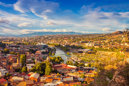 Beautiful panoramic view of Tbilisi at sunset. Georgia country Редакционное