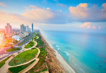 Panoramisch uitzicht over de stad Netanya, Israël Stockfoto