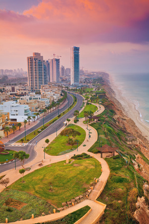 Panoramic view of Netanya city at sunset, Israel Фото со стока