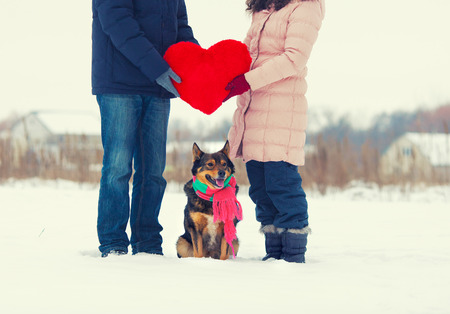 fun day: Young couple holding big red heart with dog wearing scarf on the snowy field
