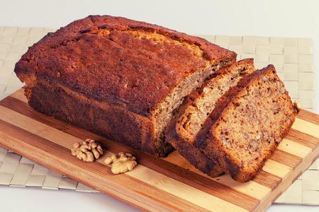 bread slice: Banana bread with walnuts