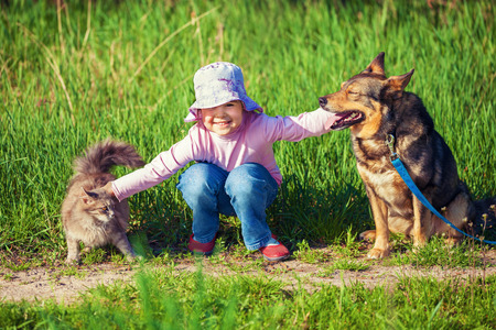 Happy little girl playing with dog and cat outdoors Standard-Bild