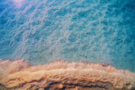 sea scape: Natural background Dead sea salt shore
