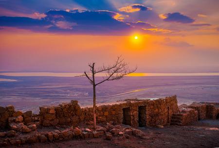 masada: Beautiful sunrise over Masada fortress
