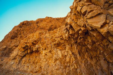masada: Rock on Masada Fortress in Judean desert Stock Photo